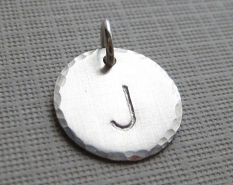 ADD an INITIAL Charm - 5/8 inch Round sterling silver tag (AO007)