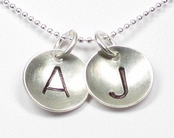 Hand Stamped Personalized Necklace - TWO INITIALS Sterling silver disc pendants (NI017)