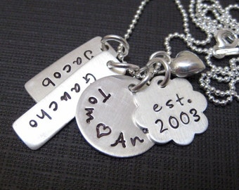My Family - FOUR or FIVE NAME Hand Stamped Personalized Sterling Silver Family Necklace