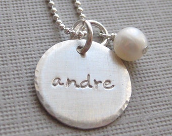 ONE NAME Charm Handstamped Personalized Sterling Silver Keepsake Necklace with a Freshwater Pearl or a Birthstone