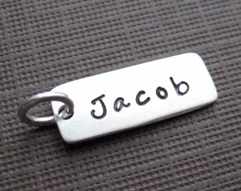 ADD a Name or a Date Charm - 3/4 inch long rectangle sterling silver tag (AO004)