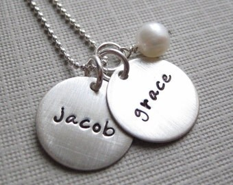 TWO NAME Charm Handstamped Personalized Sterling Silver Keepsake Necklace with a Freshwater Pearl
