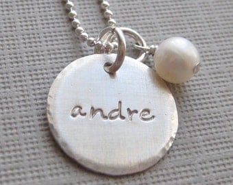 Hand Stamped Jewelry - ONE NAME Charm - Personalized sterling silver / Keepsake necklace