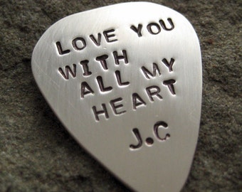 Personalized GUITAR PICK - GUITAR PLECTRUM - SINGLE SIDED Sterling Silver Hand Stamped Guitar Pick