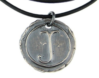 Wax Seal Leather Necklace - Simple Monogram, vintage finish (WSN006)