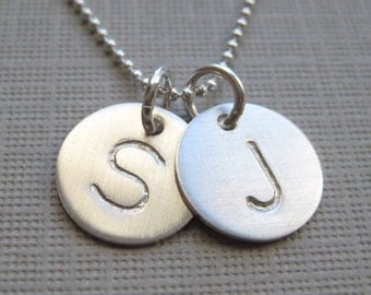 Hand stamped personalized sterling silver / Keepsake necklace- TWO INITIALS Small Charm (NI007)