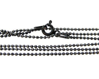 20 inch Oxidized sterling silver ball chain