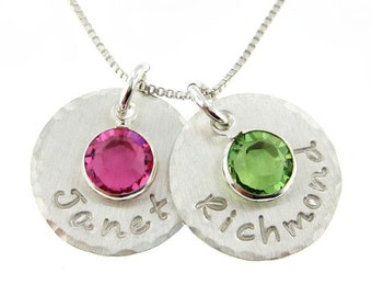 Hand stamped Mothers Birthstone jewelry - Personalized necklace - TWO NAMEs Hammered edge sterling silver necklace with birthstones (NN004)