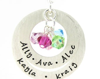 Hand Stamped Personalized Necklace - My Family Necklace with Birthstones - Mothers and Grandmothers Jewelry (NN043)