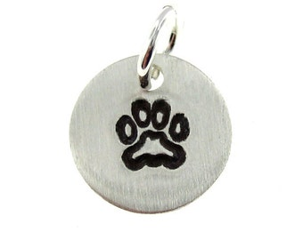 Add a  PAW Charm- Tiny Sterling Silver Round Charm (AO025)