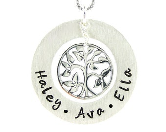 Family Tree Necklace - Hand Stamped Mothers Jewelry - Sterling Silver Tree of Life charm (NN046)