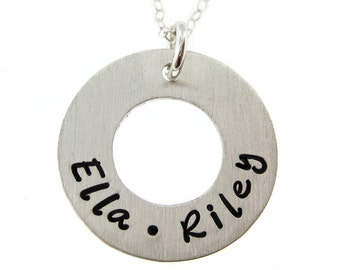 Hand Stamped Jewelry - Children's Names (Small) - Mothers Necklace - Personalize with names and dates (NN050)