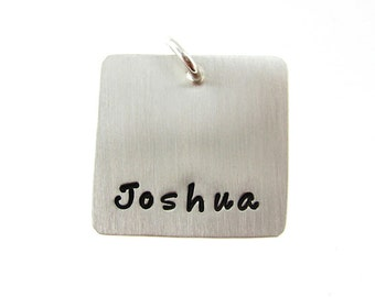 ADD a Name or a Date Charm - 3/4 inch SQUARE sterling silver tag