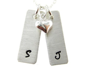 TWO INITIAL charm necklace - Hand stamped initial jewelry / Personalized necklace with a sterling silver puffy heart (NI010)