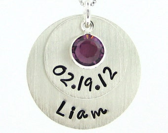 NEW MOMMY Necklace - Hand stamped Stacked Birthday and Baby Name Jewelry - Keepsake (NN054)