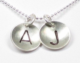 Hand stamped TWO INITIALS sterling silver disc pendants - Personalized necklace (NI017)