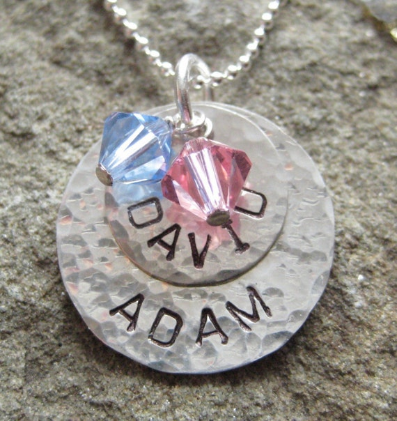 Hand Stamped Sterling Silver Two Name Round Pendants with Birthstones - Personalized Custom Necklace