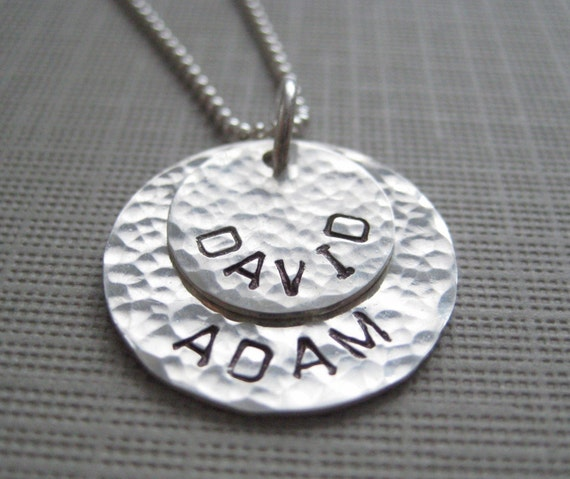 TWO NAMES Round pendants - Hand stamped sterling silver / Personalized keepsake necklace (NN020)