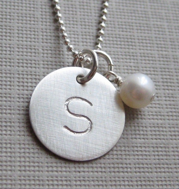ONE INITIAL Charm Handstamped Personalized Sterling Silver Keepsake Necklace with a Birthstone or a Freshwater Pearl