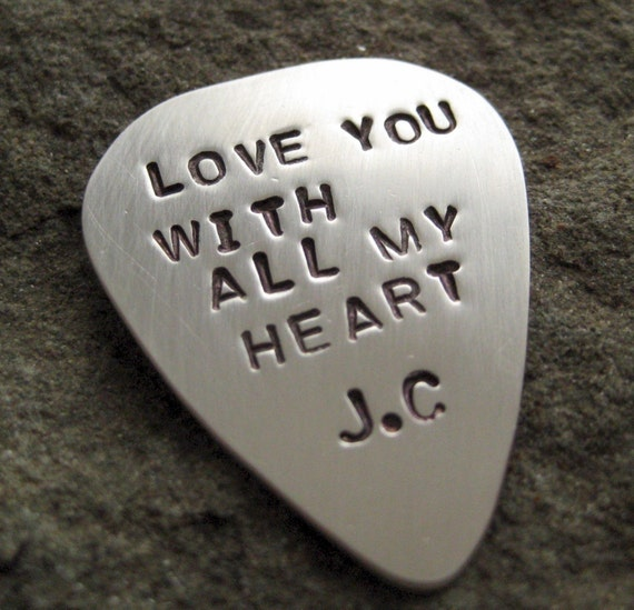 Guitar Pick - Sterling Silver Hand Stamped Personalized Guitar Pick - Single Sided (GP004)