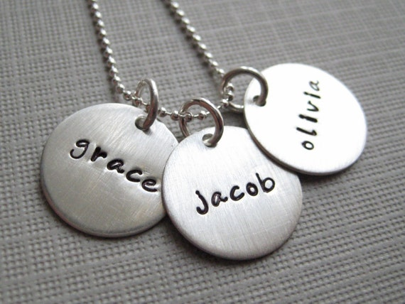 Personalized Necklace - Hand Stamped Jewelry - Mommy Necklaces - Three Names - sterling silver (NN002)