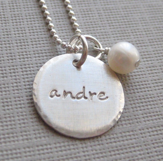 Hand stamped jewelry - Personalized necklace - ONE NAME charm sterling silver necklace with a pearl or a birthstone