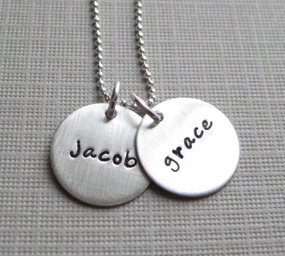 Hand Stamped Jewelry - Mommy Necklaces - TWO NAMES personalized sterling silver / Keepsake necklace