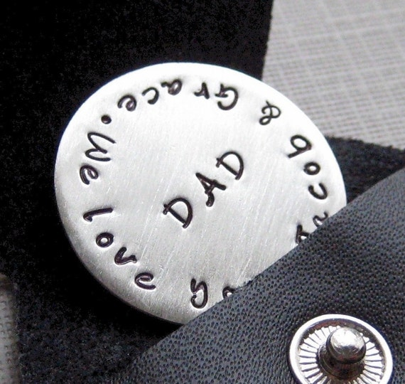 Gifts for dad - GOLF BALL MARKER with key chain - Sterling silver personalized / Hand stamped Golf Ball Marker with key chain