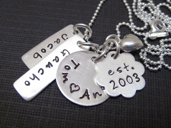 Personalized Mothers Jewelry - My Family - Four or Five Name Hand Stamped Sterling Silver Necklace