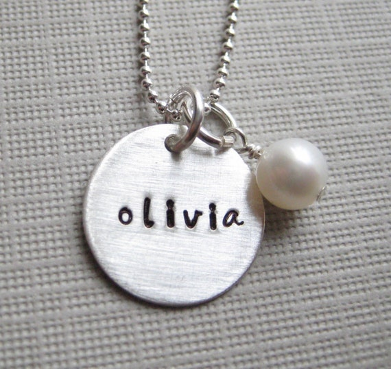 Personalized necklace / Hand stamped sterling silver ONE name necklace with a pearl or a Birthstone (NN002)