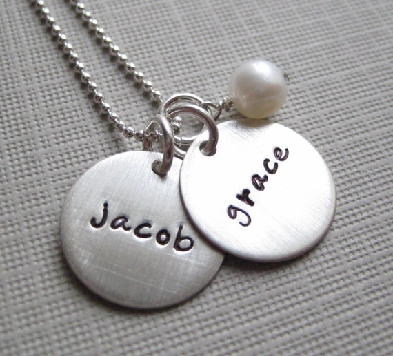 Hand Stamped Personalized Jewelry - Mommy Necklaces - TWO NAMES - sterling silver keepsakes (NN002)