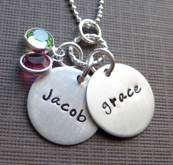 Hand Stamped Mommy Necklaces - Two Name Charms - Sterling Silver Keepsake Necklace with Birthstones (NN007)