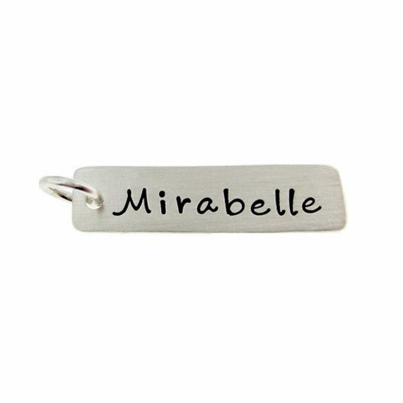 ADD a Name or a Date Charm - 1 inch long rectangle sterling silver tag (AO021)