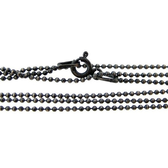 16 inch Oxidized sterling silver ball chain