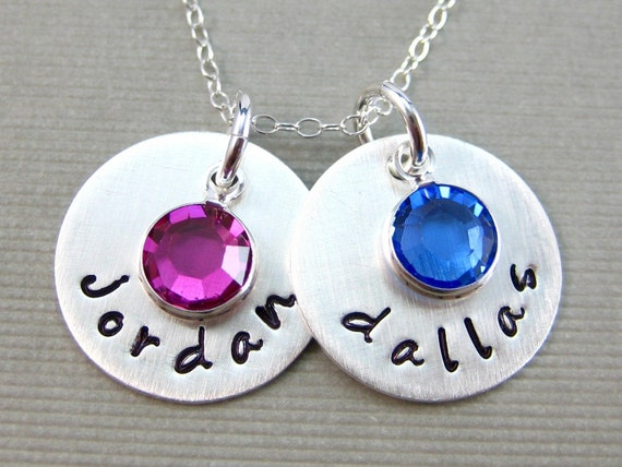 Mommy Necklaces - TWO NAME Charms - Personalized Hand stamped jewelry - Mothers Birthstone Necklace
