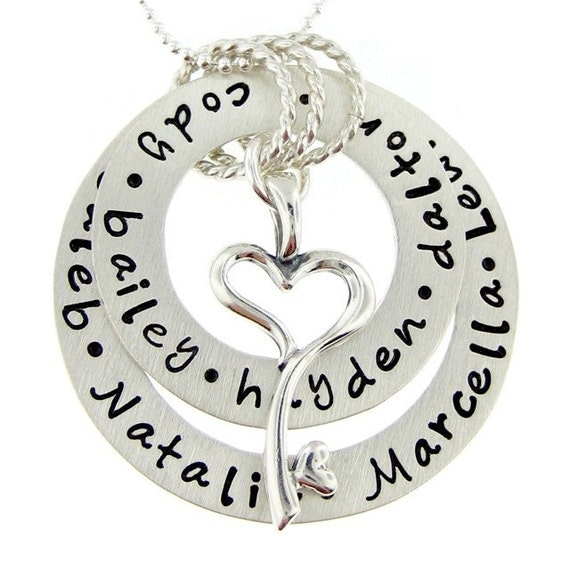 Hand Stamped Jewelry - Personalized Mothers and Grandmothers Necklace - Ultimate My Family holds a Key to My Heart - Mom & Grandma (NN011)