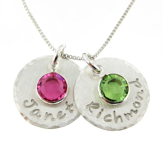 Hand stamped Mothers Birthstone jewelry - Personalized necklace - TWO ...