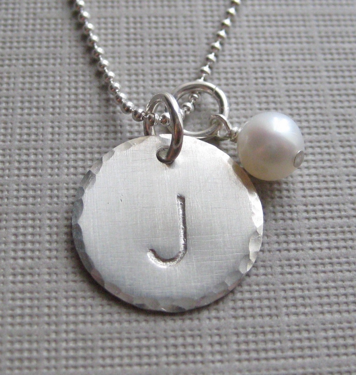 One initial charm necklace hand stamped by jcjewelrydesign for How do you make hand stamped jewelry