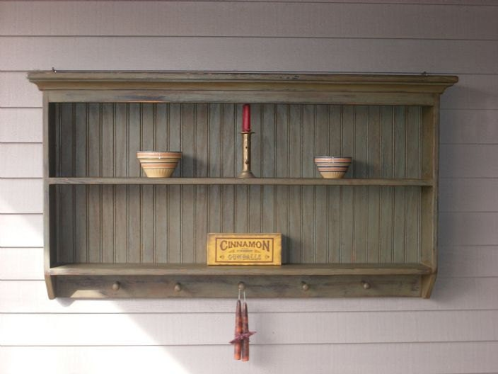 Display Shelves For Collectibles >> Items similar to Double Wall Shelf Primitive 5 Peg Display Shelf on Etsy