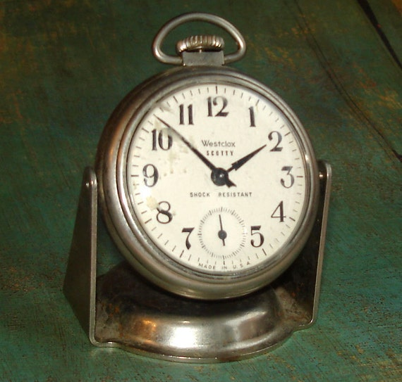 Antique Westclox Scotty Pocket Watch with Stand