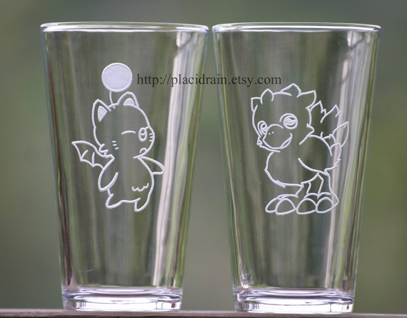 MOOGLE and CHOCOBO Hand Engraved Fanart (Glass Set- 16 oz. each)  -- Tempered glass --