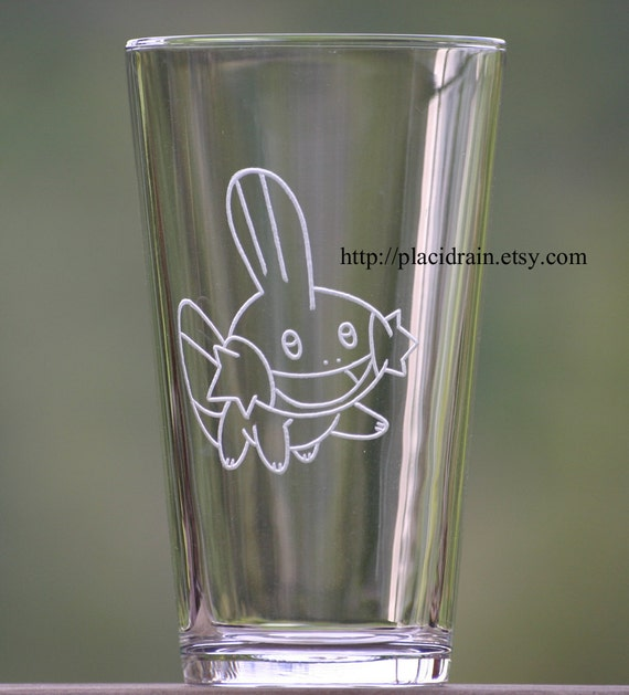 MUDKIP Hand Engraved Fanart Glass (16 oz.)  -- Tempered glass --