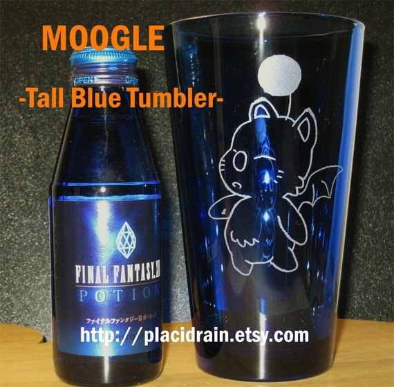 MOOGLE-----Hand etched Tall Blue Tumbler----- (SALE)