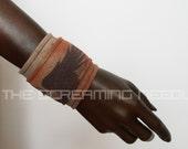 Wrap cuff bracelet wristband fabric burned orange purple brown phoenix unisex men women