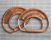 1 pairs of Bamboo bag handles ( brown ) supply for your knitting / sewing bag
