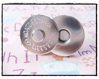 50 sets Magnetic snap closure Nickel ( 18 mm ) supply for your bag