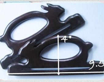 1 pairs of wooden bag handles Rabbit Shape ( Dark Brown ) Raise hands handle bag supplies