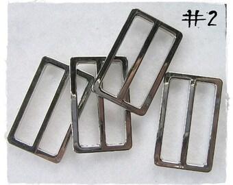 6 pcs Nickel Rectangle Ring Bag Sliders No.2 (1.25 inch)