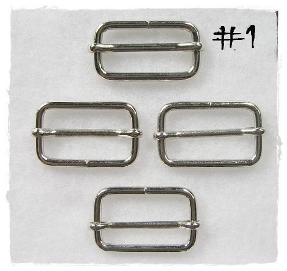 10 pcs Nickel Rectangle Ring Bag Sliders No.1 ( 2 inch)