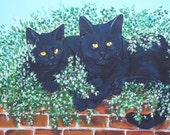 ACEO Black Cats on Red Brick Wall Jasmine  kitties cats Limited Edition 6/6 by Carole Gregorio Chapla